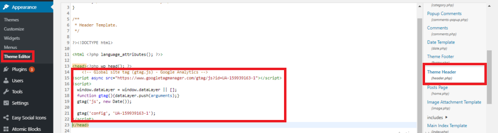 paste your tracking code in your website header