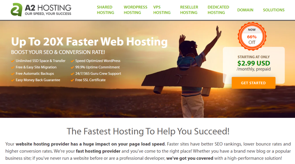 a2 hosting website